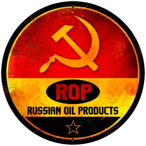 Retro ROP Gasoline Round Metal Sign 28 x 28 Inches