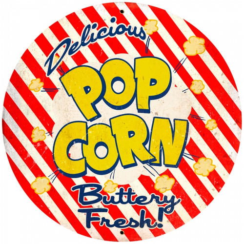 Retro Popcorn Round Metal Sign 28 x 28 inches
