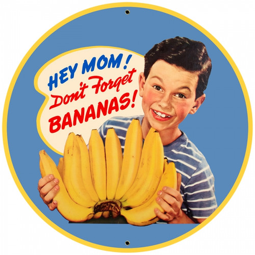 Retro Bananas Round Metal Sign 28 x 28 Inches