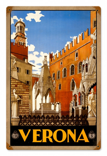 Vintage Verona Travel Metal Sign 12 x 18 Inches