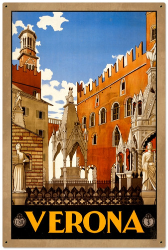 Retro Verona Travel Metal Sign 24 x 36 Inches
