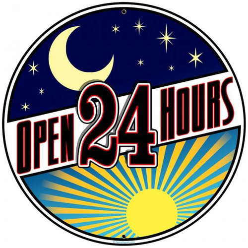 Retro Open 24 Hours Round Metal Sign 28 x 28 Inches