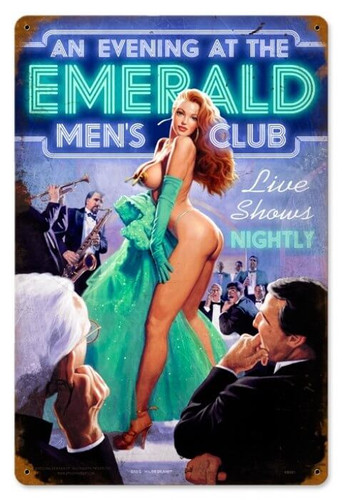 Vintage Emerald Evening  - Pin-Up Girl Metal Sign 12 x 18 Inches