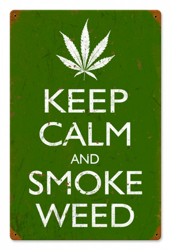 Vintage Keep Calm and Smoke Metal Sign 12 x 18 Inches