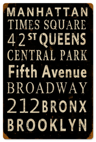 Vintage New York Streets Metal Sign 12 x 18 Inches