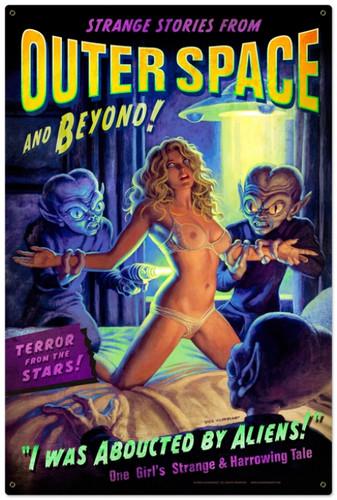 Retro Alien Abduction Metal Sign 24 x 36 Inches