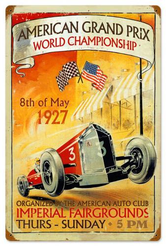Retro American Grand Prix Metal Sign 16 x 24 Inches