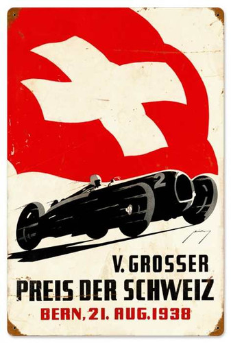 Retro Swiss Car Race Metal Sign 16 x 24 Inches