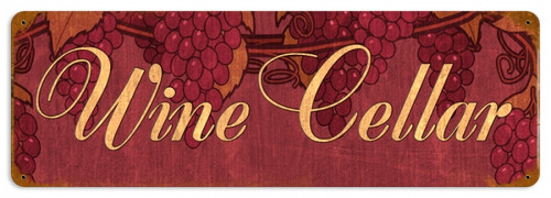 Retro Wine Cellar Metal Sign 24 x 8 Inches