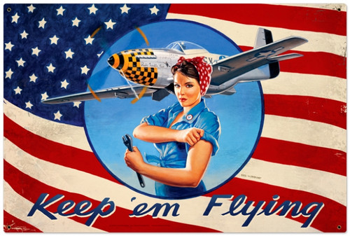 Retro Keep Em Flying Metal Sign 36 x 24 Inches