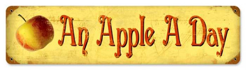 Retro Apple a Day Metal Sign 20 x 5 Inches