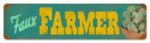 Retro Faux Farmers Metal Sign 20 x 5 Inches