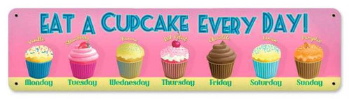 Cupcake Everyday Metal Sign 20 x 5 Inches