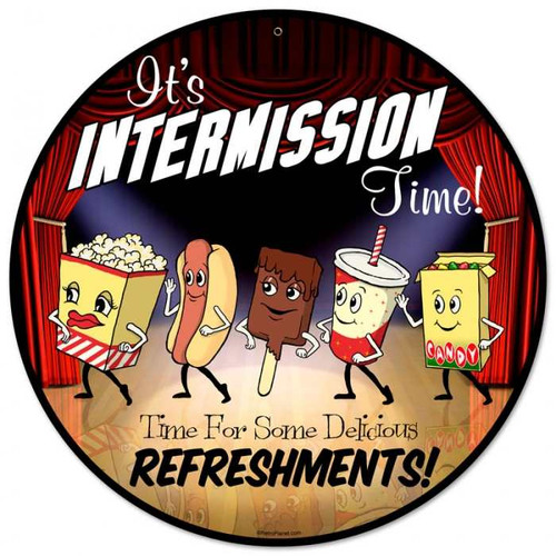 Vintage Snacks Refreshments Metal Sign 14 x 14 Inches