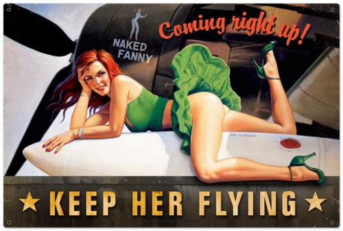 Retro Keep Her Flying  - Pin-Up Girl Metal Sign  36 x 24 Inches