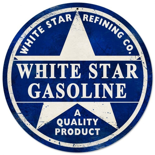 Retro White Star Gasoline Metal Sign 14 x 14 Inches