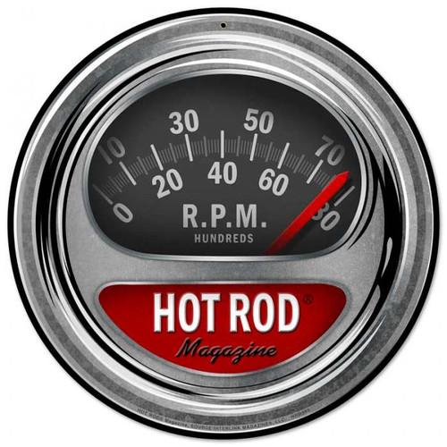 Retro Hot Rod Tach Metal Sign 14 x 14 Inches