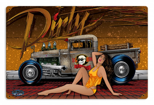 Retro Dirty  - Pin-Up Girl Metal Sign 18 x 12 Inches