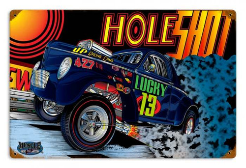 Vintage Gasser Hole Metal Sign 18 x 12 Inches