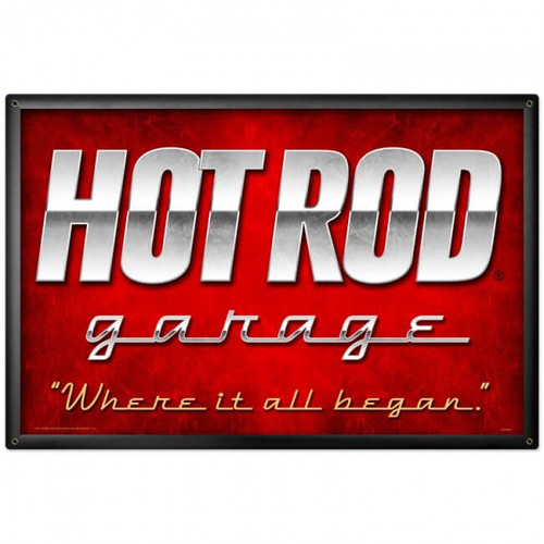 Vintage Hot Rod Garage Giant Metal Sign 36 x 24 Inches