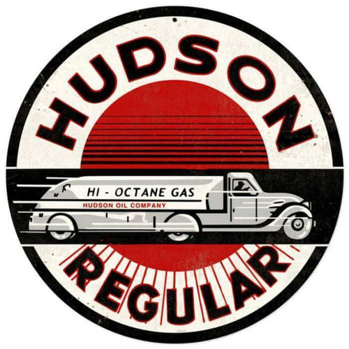 Retro Hudson Gasoline Metal Sign 14 x 14 Inches