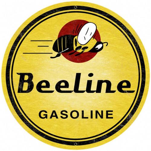 Vintage Bee Line Gasoline Super  Round Metal Sign 28 x 28 Inches