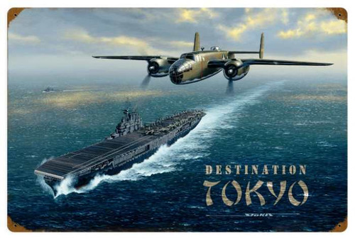 Retro Destination Tokyo Metal 24 x 16 Inches