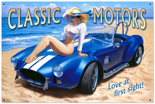 Retro Classic Motors  - Pin-Up Girl Metal Sign  36 x 24 Inches