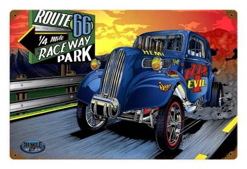 Retro Gasser Evil Metal Sign 18 x 12 Inches