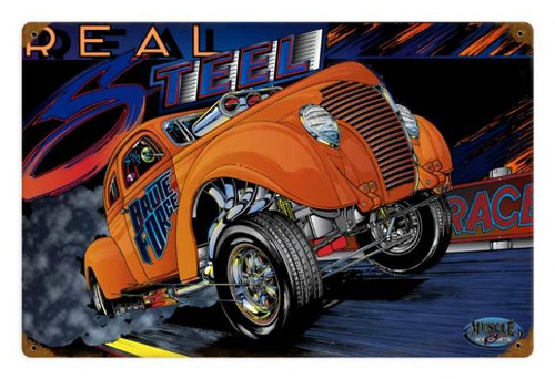 Retro Gasser Real Steel Metal Sign 18 x 12 Inches