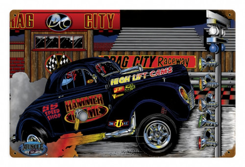 Retro Gasser Willeys Hammer Time Metal Sign 18 x 12 Inches