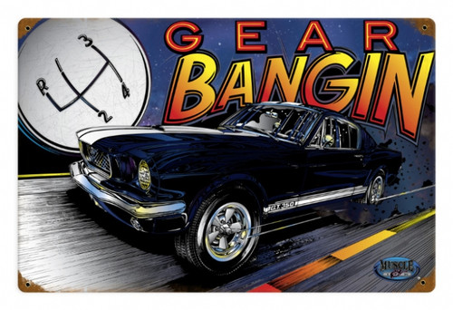 Retro Mustang Gear Metal Sign 18 x 12 Inches