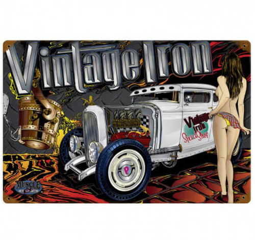 Vintage Rat Rod Vintage Iron  - Pin-Up Girl Metal Sign  18 x 12 Inches
