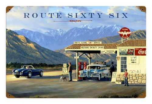 Vintage Route 66   Metal Sign 18 x 12 Inches
