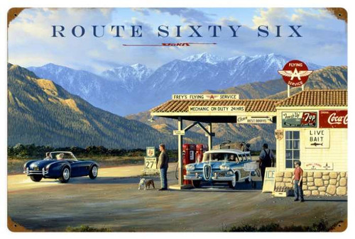 Vintage Route 66 Metal Sign 24 x 16 Inches
