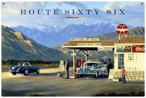 Vintage Route 66 36 x 24 Inches Metal Sign