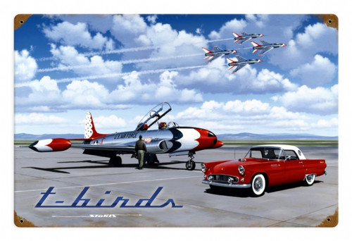 Vintage T Birds Metal Sign 18 x 12 Inches