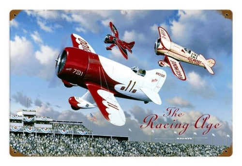 Vintage The Racing Age 18 x 12 Inches Metal Sign