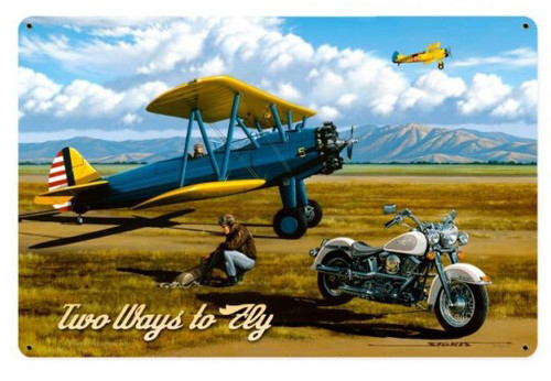 Vintage Two Ways to Fly Metal Sign