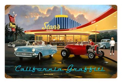 Retro California Graffiti Metal Sign 18 x 12 Inches