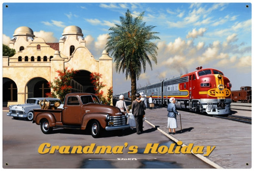 Retro Grandmas Holiday Metal Sign 36 x 24 Inches