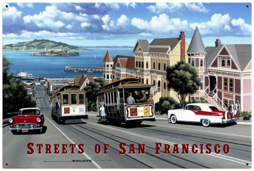 Retro San Francisco Streets Metal Sign 36 x 24 Inches
