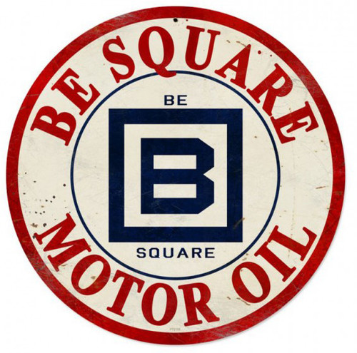 Retro Metal Sign Be Square Gasoline 14 x 14 Inches