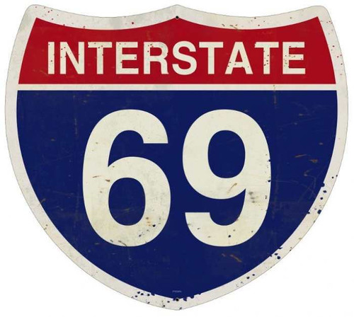 Retro Metal Sign Interstate 69 16 x 16 Inches
