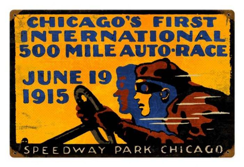 Retro Metal Sign Chicago 500   18 x 12 Inches