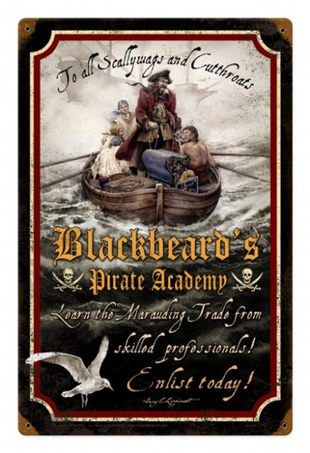 Vintage Metal Sign Pirate Academy 12 x 18 Inches
