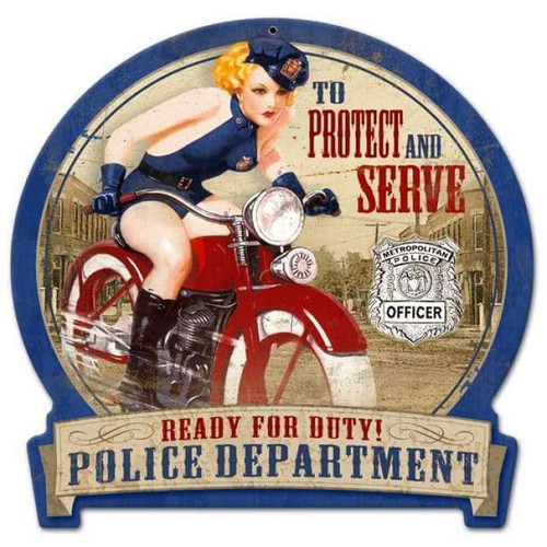 Retro Police Bike Round Banner  - Pin-Up Girl Metal Sign 16 x 15 Inches