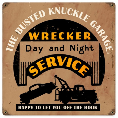 Retro Wrecker Service Metal Sign 12 x 12 Inches