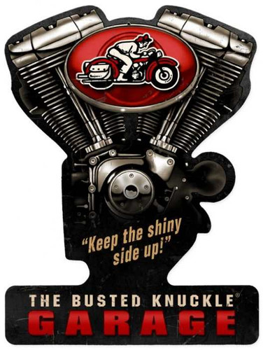 Vintage  Busted Knuckle Garage Metal Sign 14 x 19 Inches