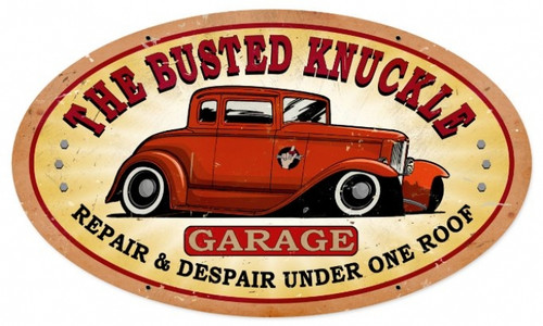 Vintage  Busted Knuckle Garage Tin Sign 24 x 14 Inches